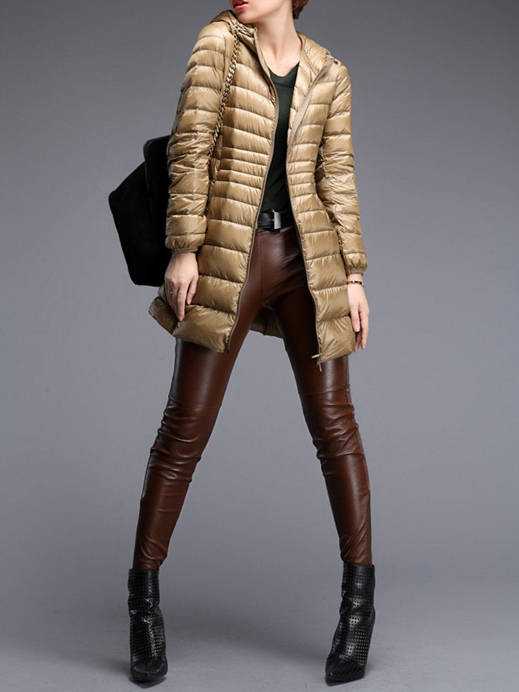 Casual Portable Brief Solid Color Women Light Down Jackets