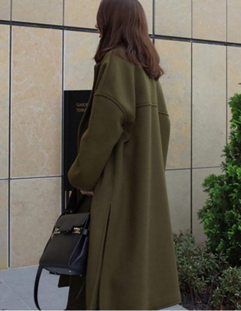 Army Green Solid Casual Wool-blend Coat