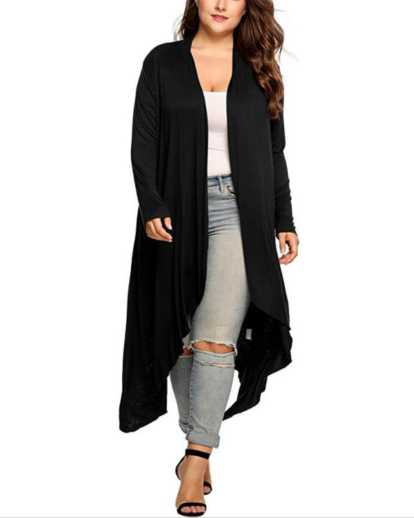 Plus Size Casual Solid Long Sleeve Cardigan For Women