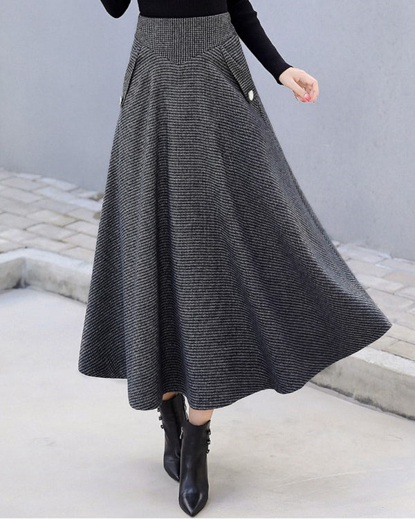Women Woolen Elegant High Waist Plaid Skirts