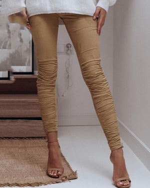 Slim Fit Wrinkle Design Stretch Casual Pants