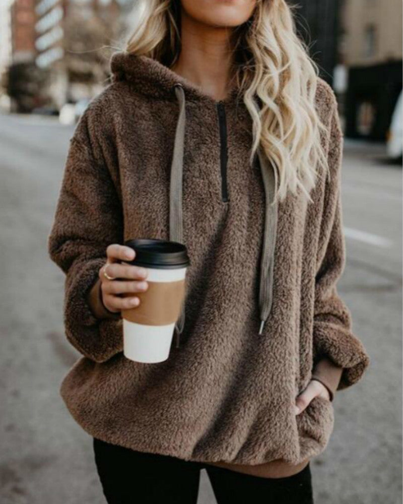 26a621dcdfe Women Winter Warm Plush Hooded Hoodies Plus Size Loose Casual Solid Color Jacket  Pullovers