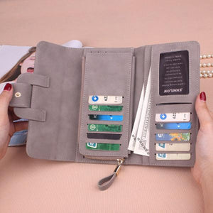 Stylish Multi-slots Button Wallet 5.5 inch Phone Bag Card Holder
