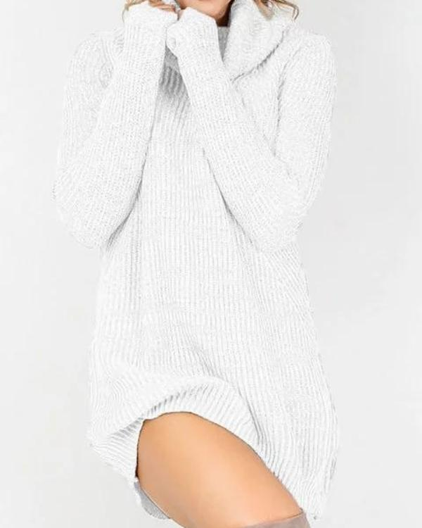 Turtleneck Women Cotton Casual Long Sleeve Sweater Paneled Solid Casual Dress