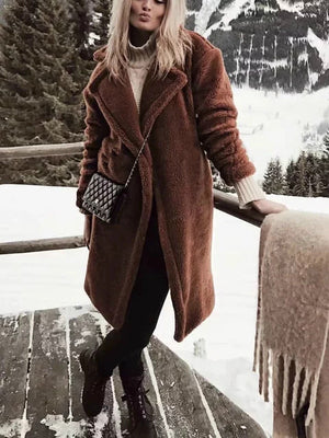 Brown Fashion Warm Fluffy Long Sleeve Teddy Bear Coats