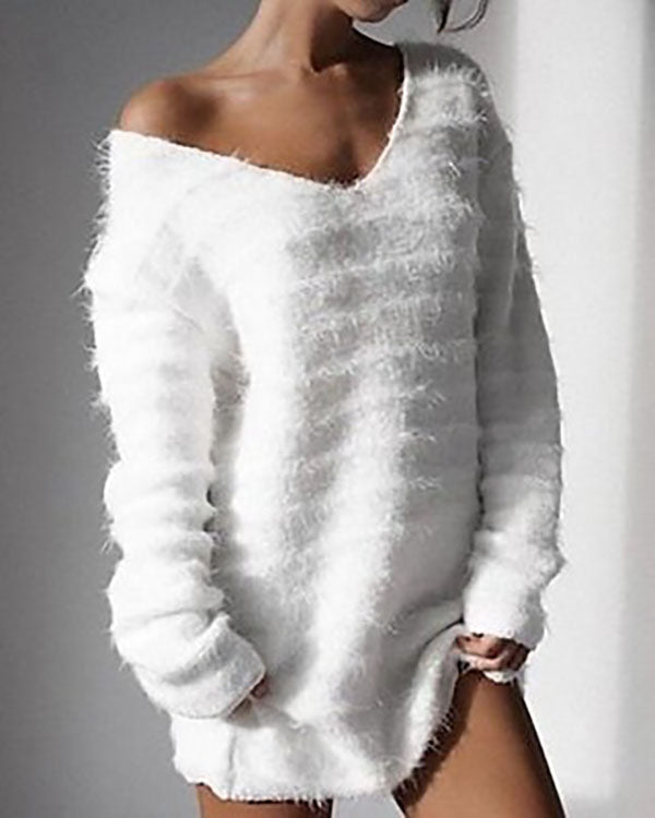 361a8e668f8 Long Sleeve V Neck Loose Sweater Dress Autumn Winter Casual Knit Pullover  Sweaters