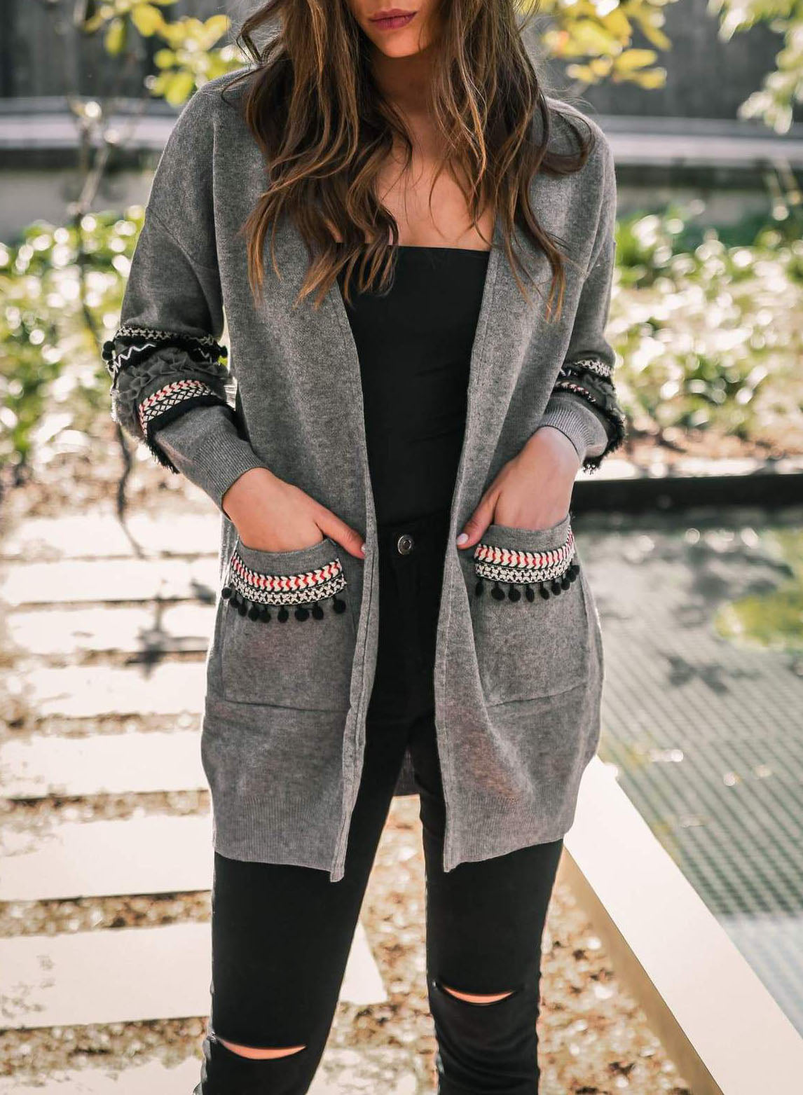 e4f48a28d5 Womens Casual Light Weight Open Front Long Sleeve Boho Knit Sweater Cardigan  With Pockets