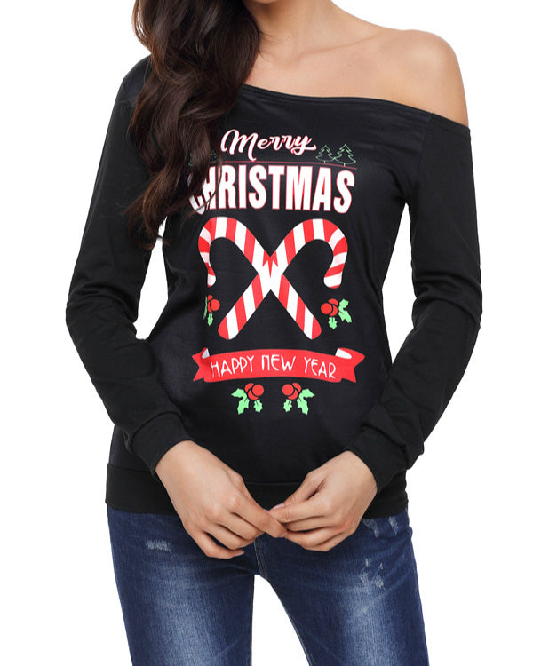 ce31835d21f Women Long Sleeve Merry Christmas Printed Off Shoulder Sweatshirt ...