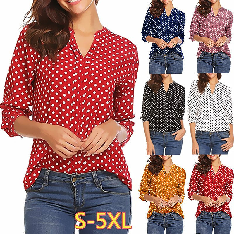 Women's Vintage Polka Dot Long Sleeve Shirt V-Neck Plus Size Blouses Tops