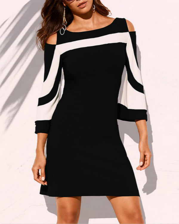 Cold Shoulder Half Sleeve Mini Dress For Women