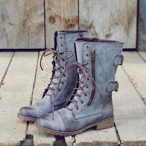 Grey-blue Low Heel PU Zipper Boots Rugged Combat Boots