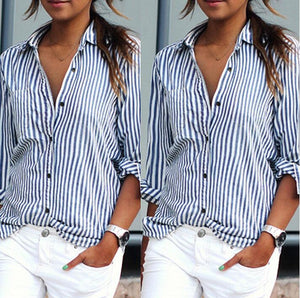 Sexy Plus Size V-Neck Striped Casual Loose Vertical Striped Long-sleeved Shirt Women Blouses