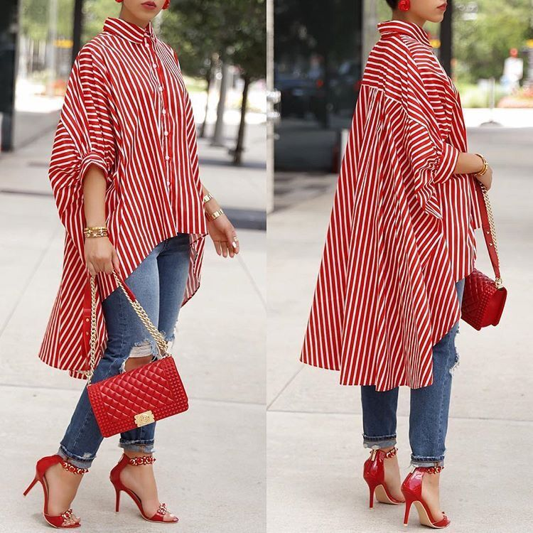 Women Turn Down Collar Asymmetric Hem Striped Half Sleeve Blouses Tops