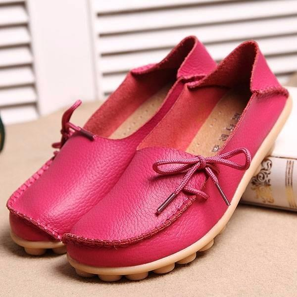 Large Size Pure Color Slip On Lace Up Soft Sole Comfortable Flat Loafers