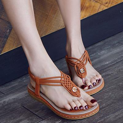 Large Size Women Summer Knitting Flip Flops Elastic Band Flat Sandals Shoes