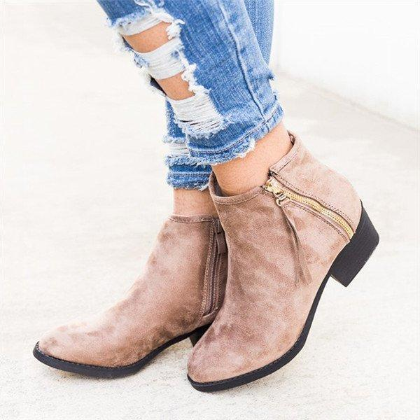 Double Side Zip Fashion Booties Low Heel Casual Ankle Boots