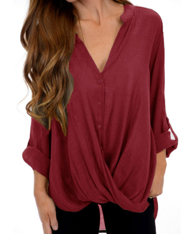 Women Casual Pure Color Irregular Long Sleeve Loose Blouse