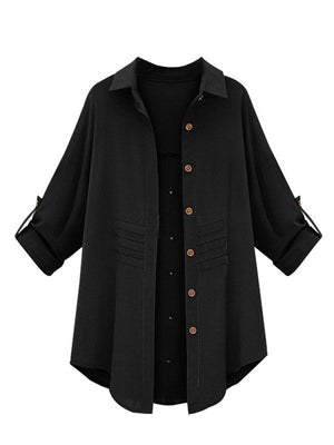 Casual Lapel Long Sleeve Shirt for Women