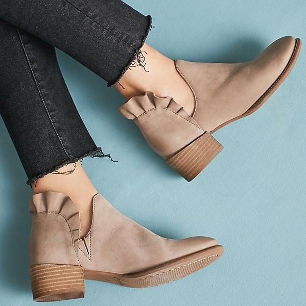 Autumn Slip-on Chunky Heel Boots Nubuck Solid Lace Daily Booties