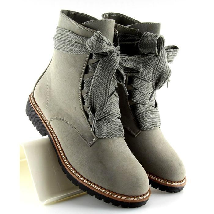 Womens Daily Chunky Heel Lace-Up Combat Sneakers Boots