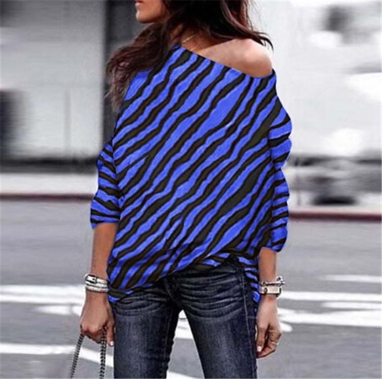 Plus Size Zebra Printed Off Shoulder T-shirt
