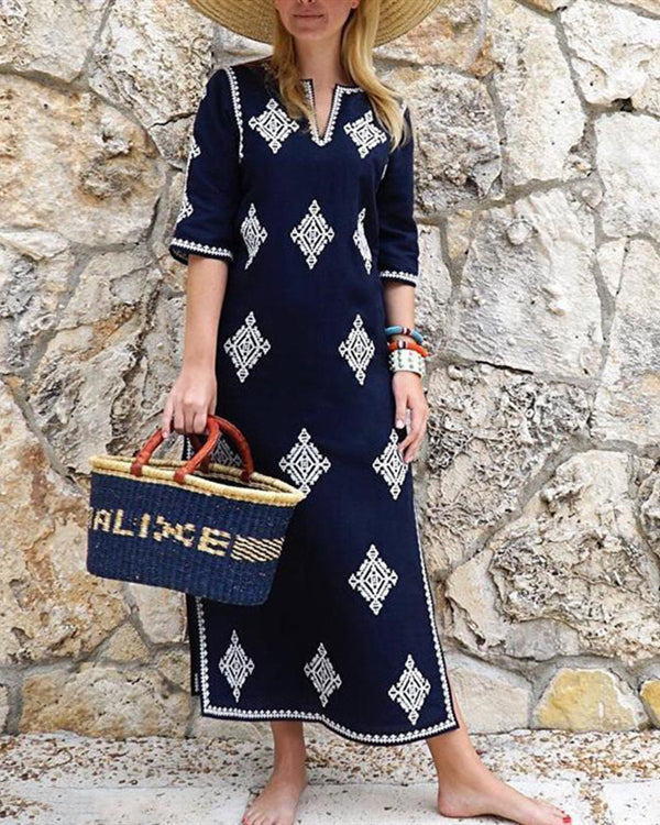 Women Fashion Half Sleeves Embroidered Maxi Vintage Dress