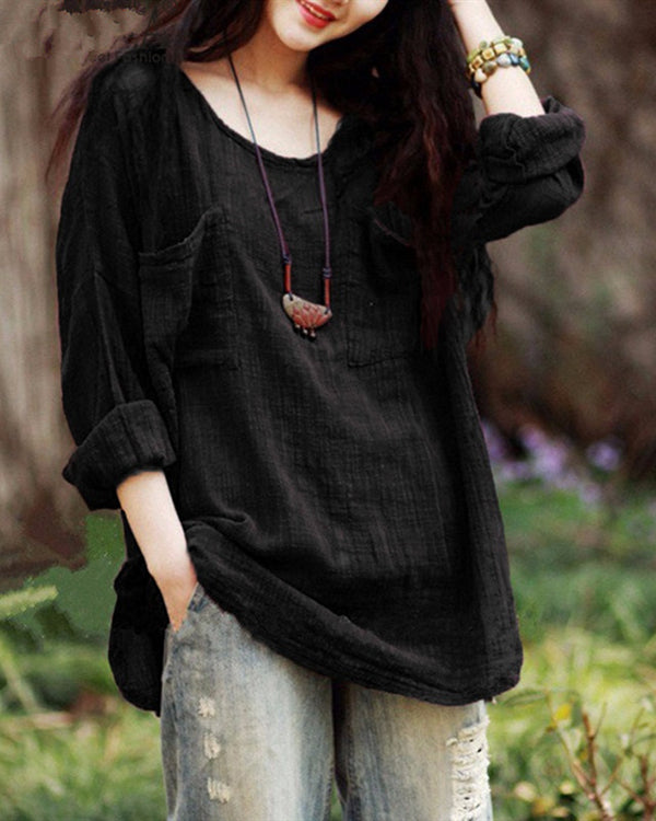 Fashion Women Casual Tops T-Shirt Loose Long Sleeve Plus Size Blouse