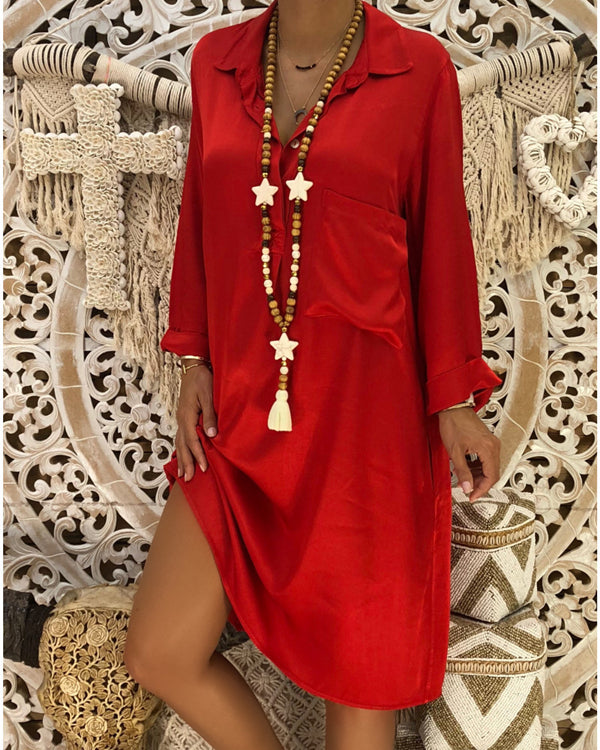 Women Casual Solid V Neck Long Sleeve With Pockets Plus Size Dress