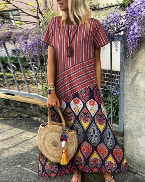 Crew Neck Women Dresses Shift Beach Printed Floral Maxi Dresses