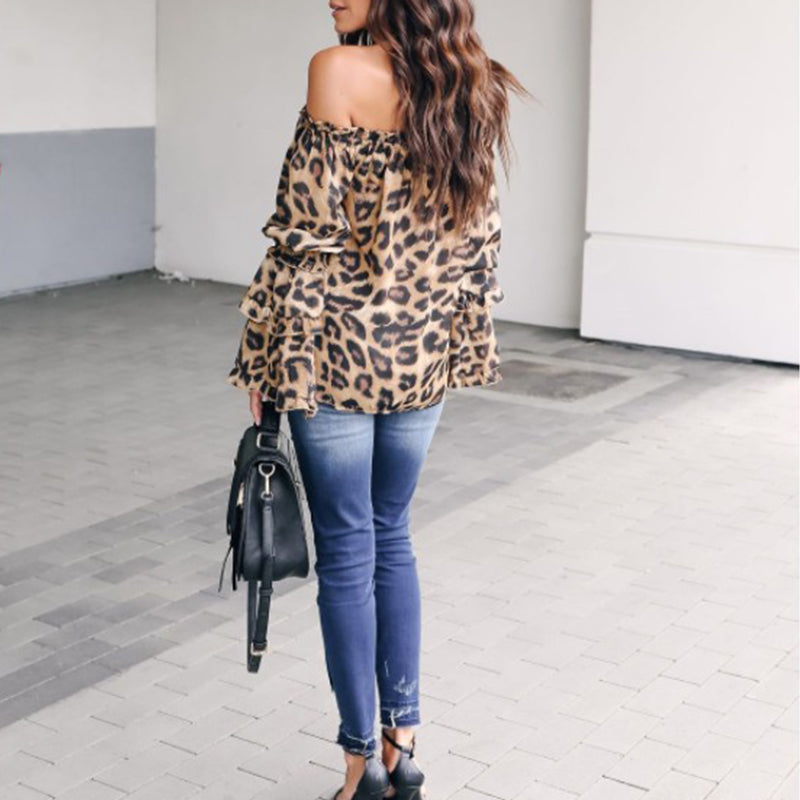 efd56bc61eb37 Leopard Printed Off-Shoulder Flare Long Sleeve Sexy Blouses – lalasgal