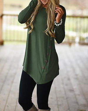 Women Fashion Button Kiss Long T-Shirt