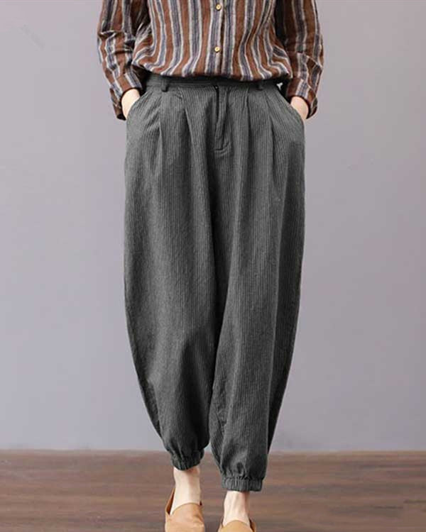 Casual Shift Cotton Vertical Striped Harem Plus Size Pants