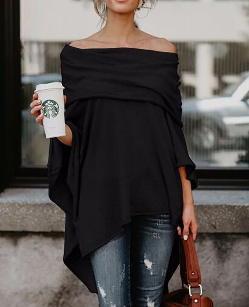 Asymmetric Batwing Off Shoulder Blouse