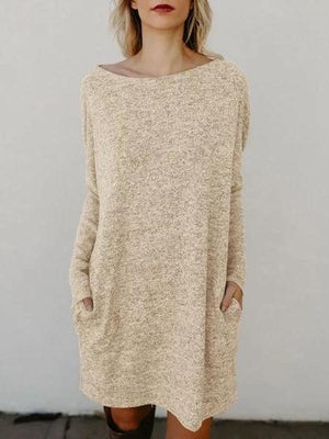 Bateau/boat neck Women Long Sleeve Knitted Solid Fall Dress