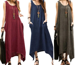 Women Plus Size Sleeveless Asymmetrical Hem Cotton Pocket Maxi Dress