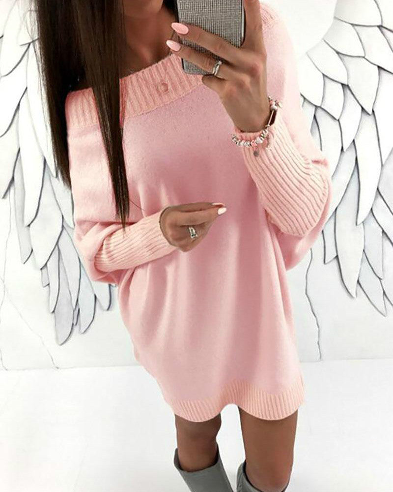 Shift Women Casual Knitted Long Sleeve Solid Fall Dress