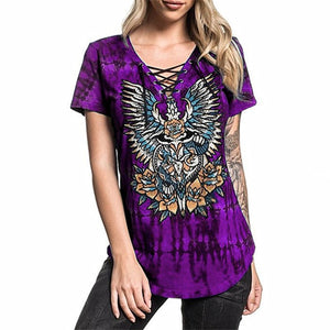 Tie-dyed Short Sleeved Casual T-Shirts Tops