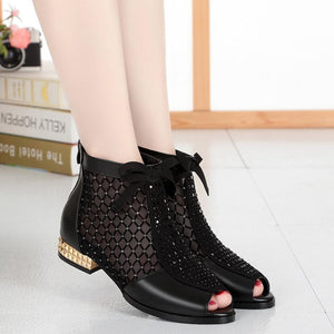 Back-zipper Hollow-out Sandals Casual Style Low Chunky Heel Sandals Peep Toe