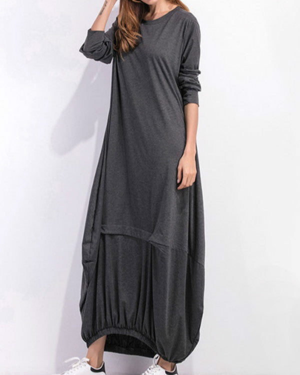 Cocoon Women Daily Cotton Long Sleeve Casual Paneled Plain Fall Dress