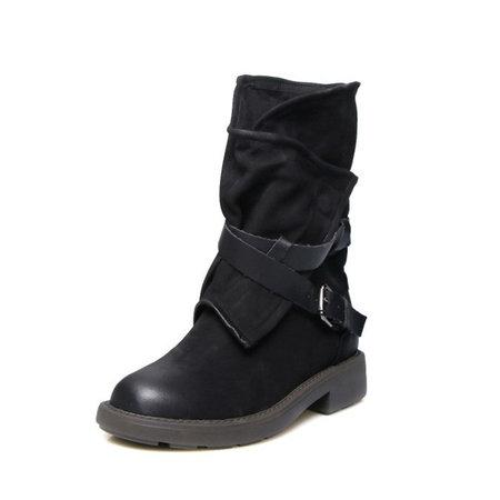 Adjustable Buckle Mid Calf Women Motorcycle Boots