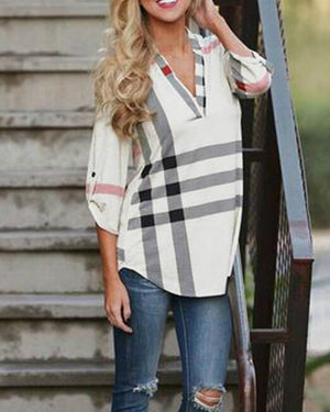 2018 autumn and winter Europe plaid printing v - neck seven-minute sleeve shirt women