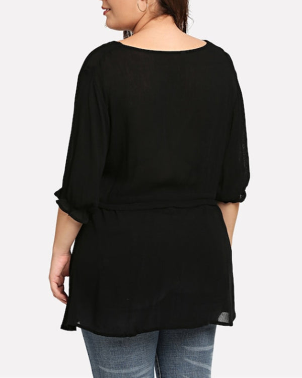 Women Plus Size Pure Color Long Sleeve Cotton And Linen Shirts Tops