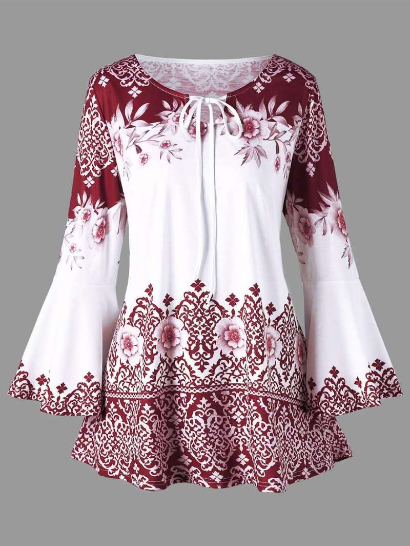 dc4f8d819821 Womens Tops Cinsanong Fashion T-Shirts Plus Size Tops Blouses Keyhole  Blouse Printed Flare Sleeve