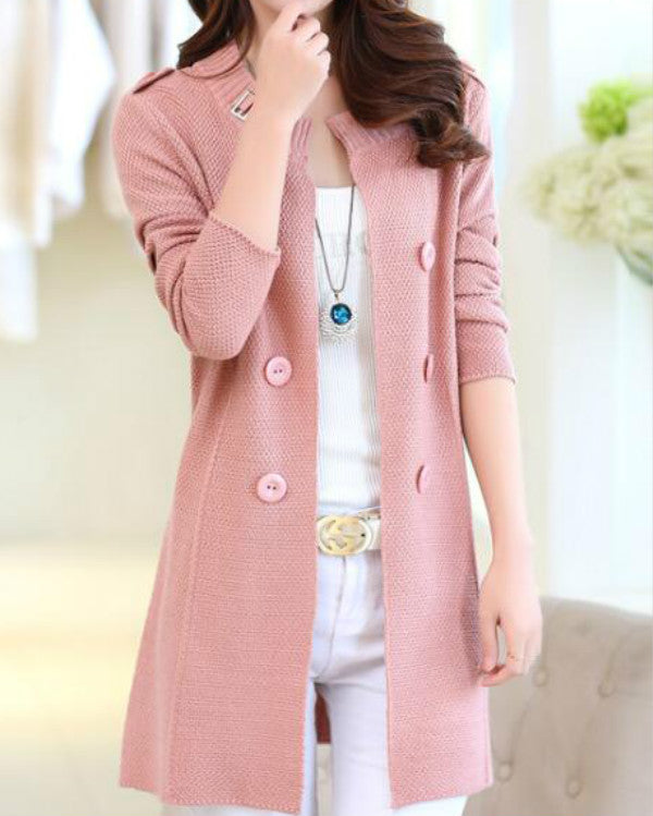 Cotton Blend Long Sleeve Collarless Buttons Coats