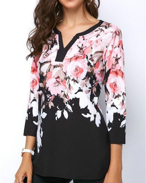 Women Long Sleeve Loose Casual Flower Shirt Tops Fashion V-neck Chiffon Blouse