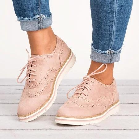 8b0e62bd645 Women s Lace Up Perforated Oxfords Shoes Plus Size Casual Shoes