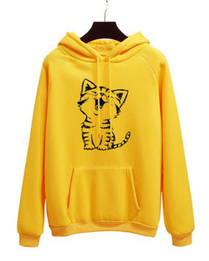 Women's Fashion Plus Size Hooded Cat Print Long Sleeve Cotton Sweatshirt Hoodies