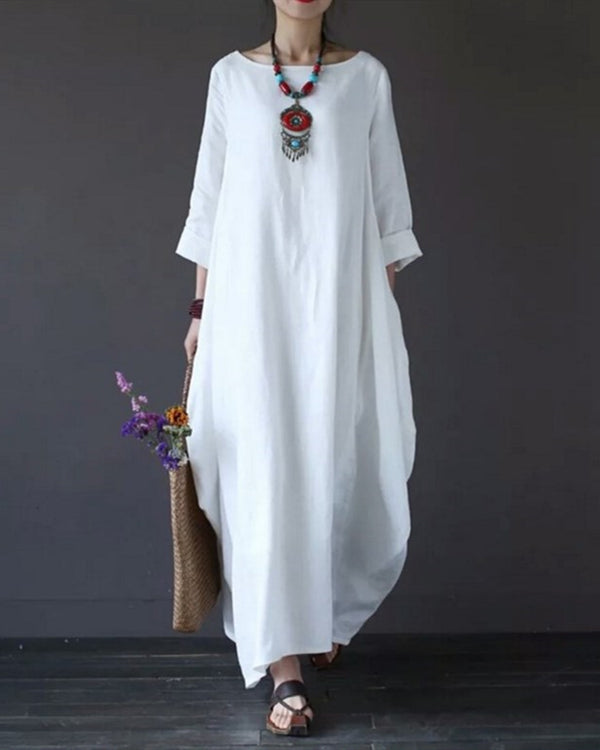 1560a781d45 Women Plus Size Long Sleeve Linen Loosel Irregular Long Maxi Dress ...