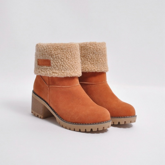 5a4472df461 Female Winter Shoes Fur Warm Snow Boots Square Heels Ankle Boots ...