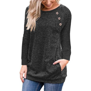 Women Pullovers Women Round Neck Long Sleeve Tops Women Button T-shirt